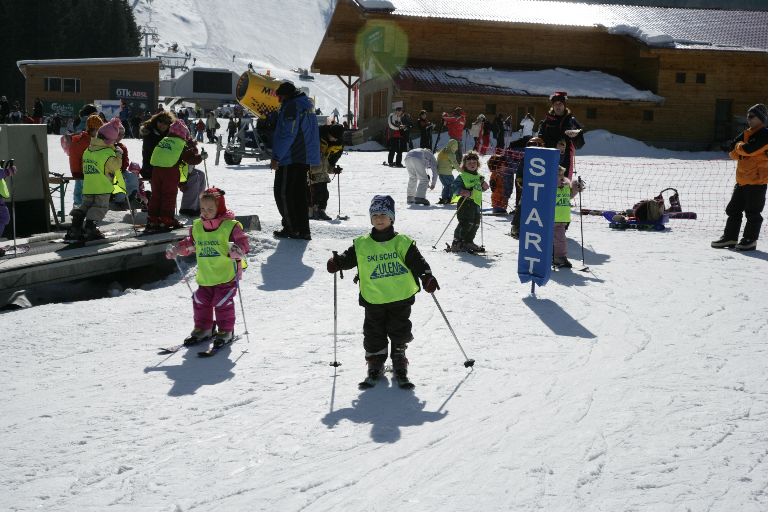 Children learning to ski in Bansko